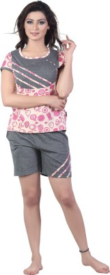 New Darling Women's Printed Pink, Grey Top & Shorts Set