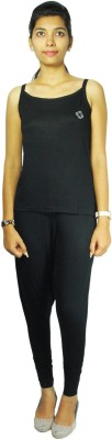 Bluedge Women's Solid Black Top & Pyjama Set