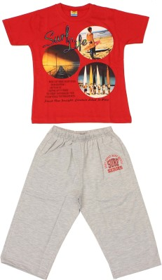 Romano Boy's Graphic Print Red T-shirt & Three-forth Set