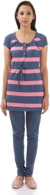 Monte Carlo Women's Striped Grey, Pink Top & Pyjama Set