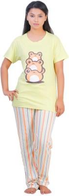Disney by July Cotton Two Piece Women's Printed Yellow, White Top & Pyjama Set