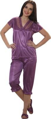 Cloe Women,s Solid Purple Top & Capri Set