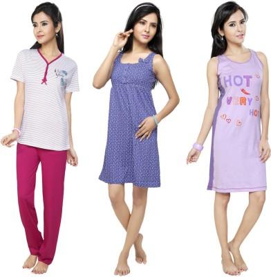 Flamingo Lingerie Women's Printed Purple, Pink, Blue Top & Pyjama Set