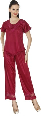 Ignis Women's Solid Maroon Top & Pyjama Set
