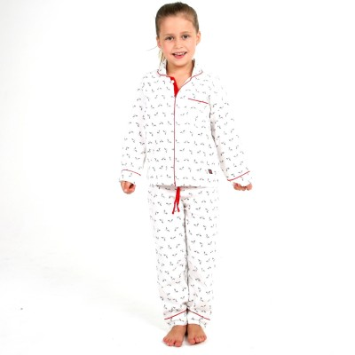 Cherry Crumble California Girl's Printed White Top & Pyjama Set