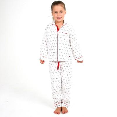 Cherry Crumble California Baby Girl's Printed White Top & Pyjama Set
