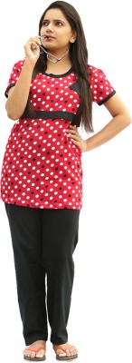 Vixenwrap Women's Polka Print Black, Red Top & Pyjama Set