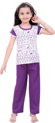 Be 13 Girl's Printed Purple Top & Pyjama Set