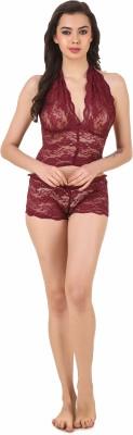 Masha Women's Solid Maroon Top & Pyjama Set