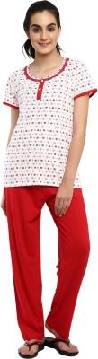 Softwear Women's Self Design White Top & Pyjama Set