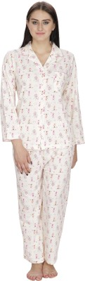 Josilins Women's Printed Yellow Top & Pyjama Set