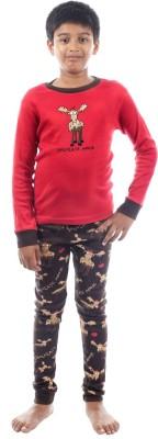 Lazy One Boy's Printed Red Top & Pyjama Set