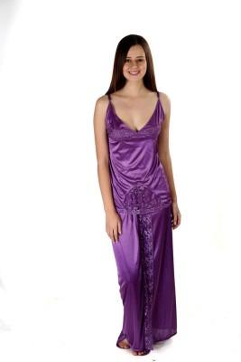 Se Deplace Women's Solid Purple Top & Skirt Set