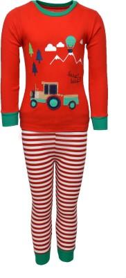 Pepito Girl's Printed Red Top & Pyjama Set