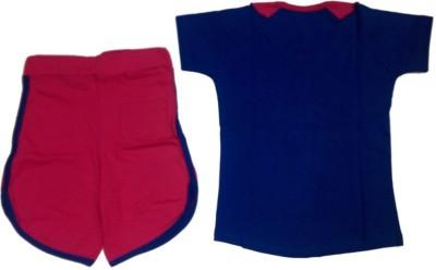 Tomato Girl's Printed Blue Top & Shorts Set