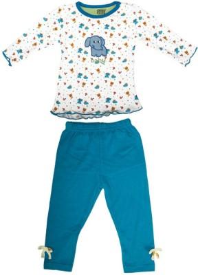 Mee Mee Baby Girl's Printed White, Dark Blue Top & Pyjama Set