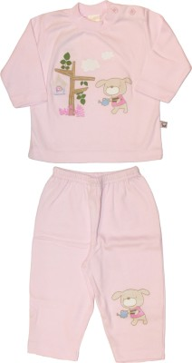 Babiano Baby Girls Animal Print Pink Top & Pyjama Set