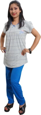 Indiatrendzs Women's Printed Blue, Grey Top & Pyjama Set
