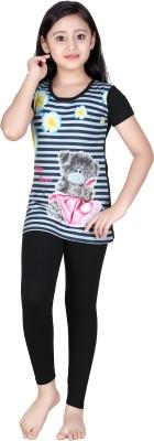Red Ring Girl's Self Design Multicolor Top & Pyjama Set