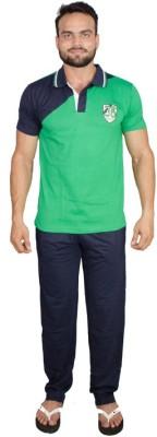 Valentine Men's Solid Green, Black Top & Pyjama Set