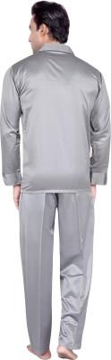 Tatwam Men's Solid Silver Top & Pyjama Set