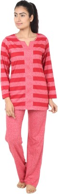 She N She Textured Women's Self Design Red Top & Pyjama Set