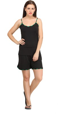Cottinfab Women's Solid Black Top & Shorts Set