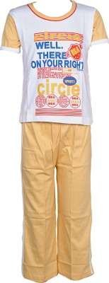 Gee & Bee Boys Printed White Top & Pyjama Set