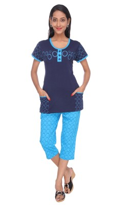 Spicy India Nightsuit Women's Printed Blue Top & Capri Set