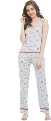 Clovia Women's Printed Blue Top & Pyjama Set