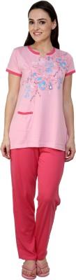 TAB91 Rafting Beauty Women's Printed Pink Top & Pyjama Set