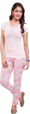 TVENO Women's Printed Pink Top & Pyjama Set