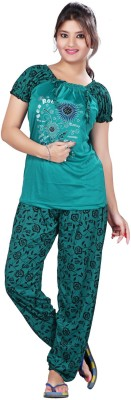 MAHAARANI Women's Printed Green Top & Pyjama Set