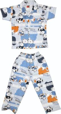 Belle Girl Boy's Printed Blue Top & Pyjama Set