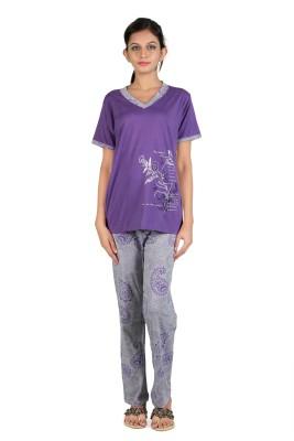 Elite Women's Printed Purple Top & Pyjama Set