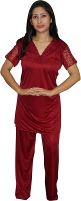 Indiatrendzs Women's Solid Maroon Top & Pyjama Set