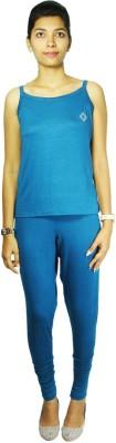 Bluedge Women's Solid Dark Blue Top & Pyjama Set