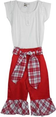 SSMITN Girl's Solid Red Top & Capri Set