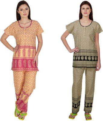 Simrit Women's Printed Pink, Black Top & Pyjama Set