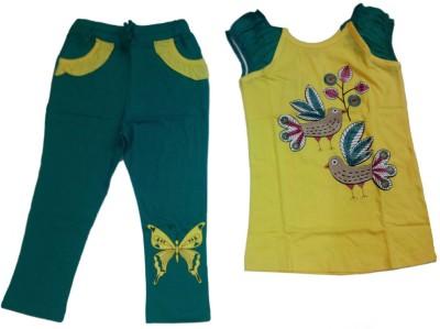 Tomato Girl's Printed Yellow Top & Pyjama Set
