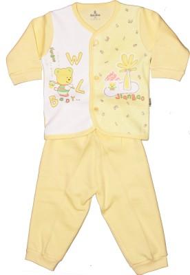 Child World Baby Girls Animal Print Yellow Top & Pyjama Set