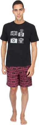 Nuteez Men's Printed Multicolor Top & Shorts Set