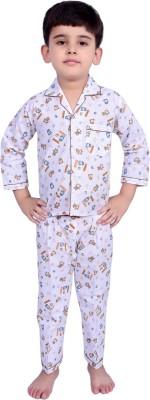 Kingstar Boy's Printed Brown Top & Pyjama Set