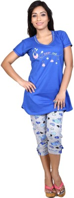 Ruok Women's Printed Blue Top & Capri Set