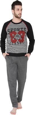 Valentine Men's Striped Grey Top & Pyjama Set