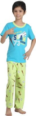 Kanvin Boy's Printed Blue Top & Pyjama Set