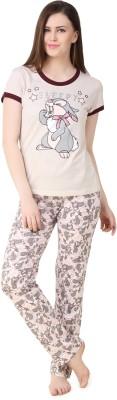 BrandMeUp Women,s Printed Beige Top & Pyjama Set