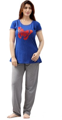 Sweet Night Women's Printed Blue Top & Pyjama Set