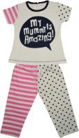 Myfaa Kids Nightwear Girls Polka Print Cotton(White Pack of 1)
