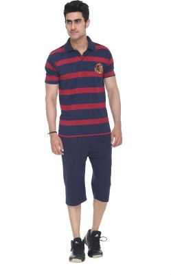 Colors & Blends Capri Suit Mens Striped Blue T-shirt & Three-forth Set